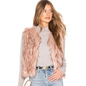 BB DAKOTA Barbarella Faux Fur Vest Mauve Pink Sz M